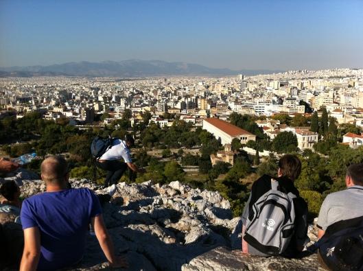 Atenas vista da Acrópole (o ponto mais alto da cidade) no segundo dia de greve geral