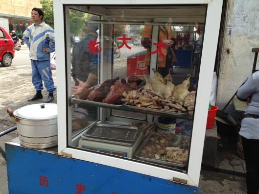 Em Wuhu, o carrinho tem frango, não pipoca (Foto: Priscila Dal Poggetto)